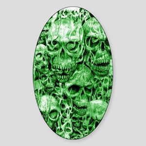 skull 67 dark green shade tall Sticker (Oval)