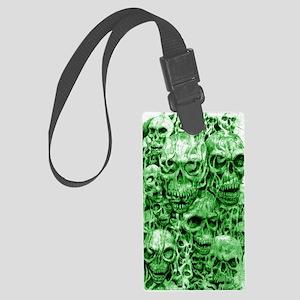 skull 67 dark green shade tall Large Luggage Tag