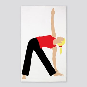 Blond Woman Doing a Yoga Stretch 3'x5' Area Rug