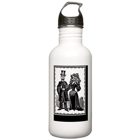 Skeleton Couple, Black Stainless Water Bottle 1.0L