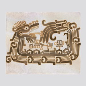 Xochicalco Feathered Serpent Throw Blanket
