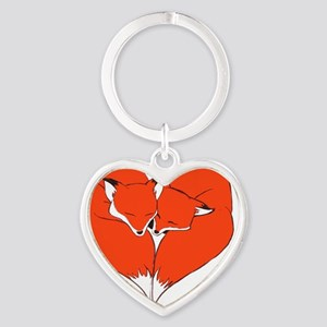 Foxes Mate for Life Heart Keychain