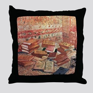 French Novels and Rose Throw Pillow