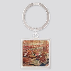 French Novels and Rose Square Keychain