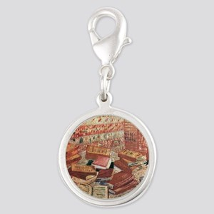Van Gogh French Novels and Ros Silver Round Charm