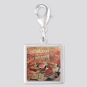 Van Gogh French Novels and Ro Silver Square Charm