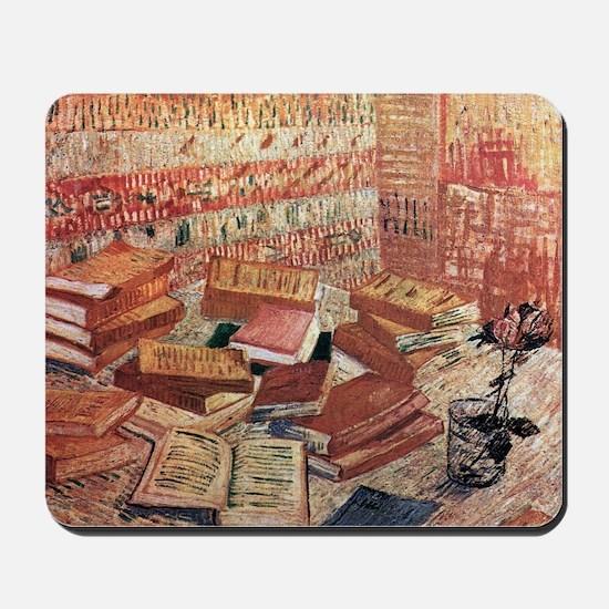 Van Gogh French Novels and Rose Mousepad