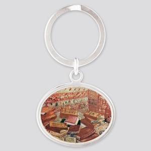 Van Gogh French Novels and Rose Oval Keychain