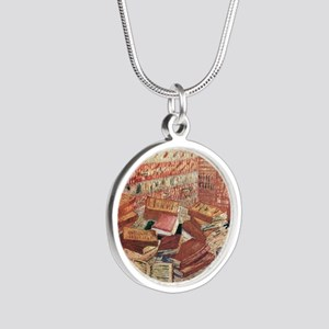 Van Gogh French Novels and R Silver Round Necklace
