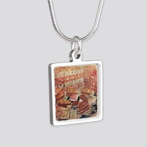 Van Gogh French Novels and Silver Square Necklace