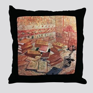 Van Gogh French Novels and Rose Throw Pillow