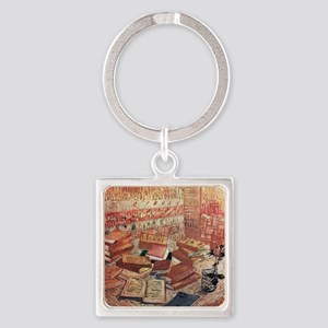 Van Gogh French Novels and Rose Square Keychain