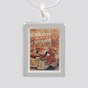 Van Gogh French Novels a Silver Portrait Necklace