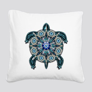 Native American Turtle 01 Square Canvas Pillow