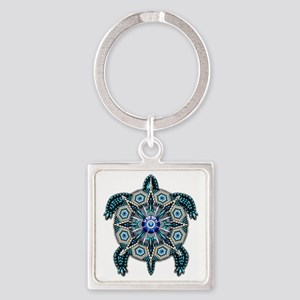 Native American Turtle 01 Square Keychain