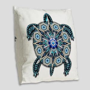 Native American Turtle 01 Burlap Throw Pillow
