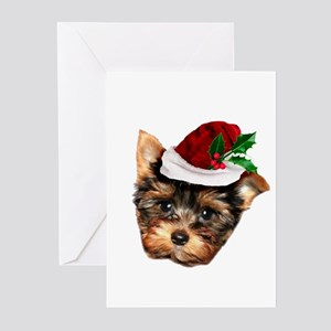 Christmas Yorkshire Terrier dog Greeting Cards