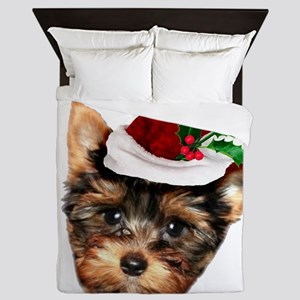 Christmas Yorkshire Terrier dog Queen Duvet