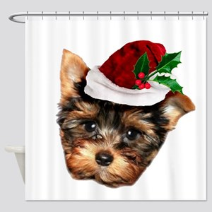 Christmas Yorkshire Terrier dog Shower Curtain