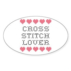 Cross Stitch Lover Oval Decal