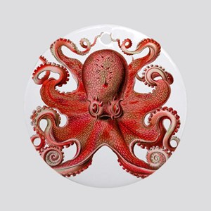 Red Octopus Round Ornament