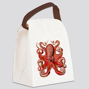 Red Octopus Canvas Lunch Bag
