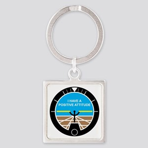 I Have a Positive Attitude Square Keychain