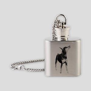 Miniature Pinscher Sketch Flask Necklace