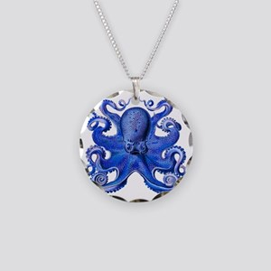 Blue Octopus Necklace Circle Charm