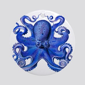 Blue Octopus Round Ornament