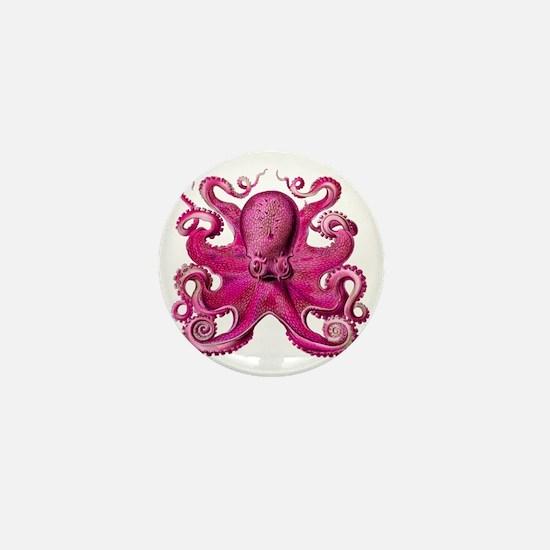Pink Octopus Mini Button