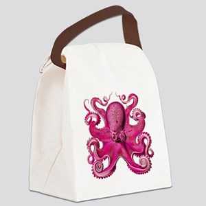 Pink Octopus Canvas Lunch Bag