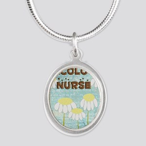 Oncology Nurse Daisies Electr Silver Oval Necklace