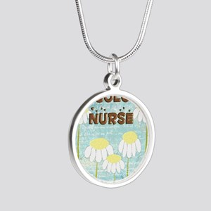 Oncology Nurse Daisies Elect Silver Round Necklace