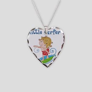 Little Surfer Necklace Heart Charm