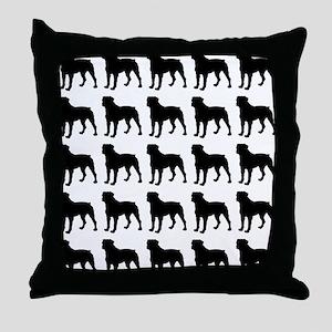 Rottweiler Silhouette Flip Flops In B Throw Pillow