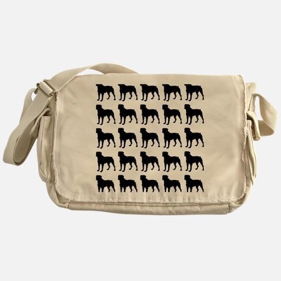 Rottweiler Silhouette Flip Flops In  Messenger Bag