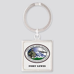 Fort Lewis with Text Square Keychain