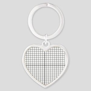 Four quadrant math graph paper Heart Keychain