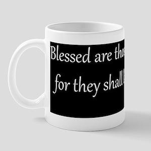 Mourning, White on Black, Beatitudes Mug