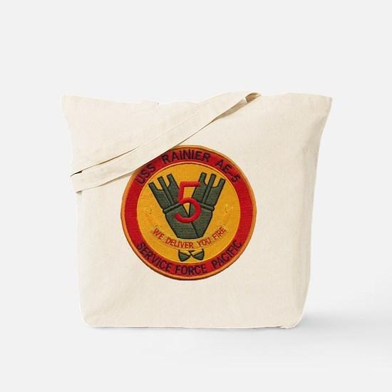 uss rainier patch transparent Tote Bag