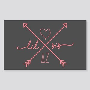 Delta Zeta Lil Sis Arrows Sticker (Rectangle)