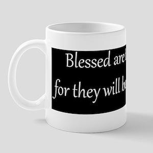 Mercy, White on Black, Beatitudes Mug