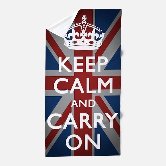 Keep Calm And Carry On Beach Towel