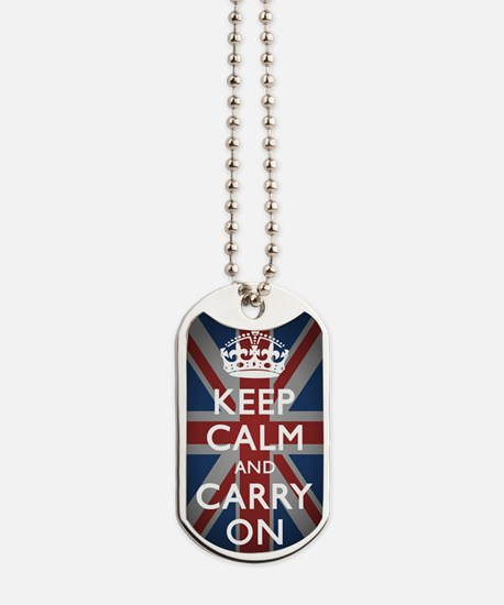 Keep Calm And Carry On Dog Tags