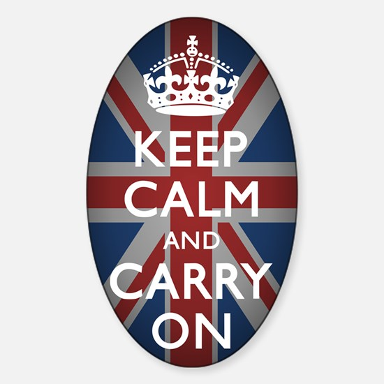 Keep Calm And Carry On Sticker (Oval)