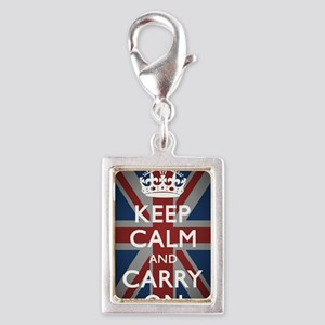 Keep Calm And Carry On Silver Portrait Charm