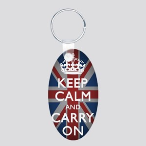 Keep Calm And Carry On Aluminum Oval Keychain