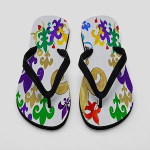 Fleur de lis party Flip Flops