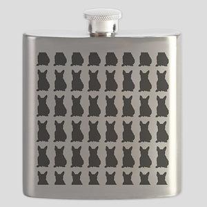 French Bulldog Silhouette Flip Flops In Blac Flask